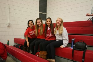Friends gathered before the game - Julia Munoz (11), Erin Gallagher (11), Izzy Rojas (10), and Emma Dombrow (10)