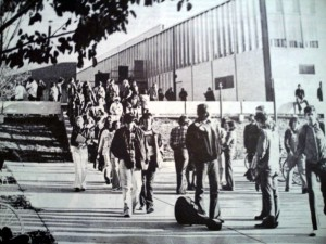 Look familiar? This is a photo pulled from the 1974 October edition of The Plaid Line, showing students milling about the courtyard before school starts.