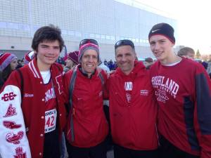 Abram, Coach Moening, Coach Johnson and Micah at State Meet