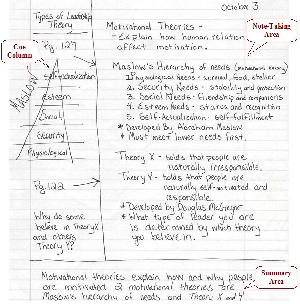 five methods of note taking Note taking systems cornell method take notes here 2-3 sentence summary key terms or predict test questions or equations split-page professor's notes (such as powerpoint handouts or course-reader notes) your notes self-  college note taking.